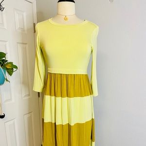 Flamingo Urban Mustard Yellow Stripe Dress - S/M
